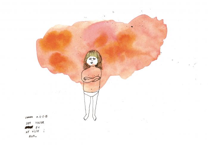 Signe Parkins har foreviget sin datter i sin skitsedagbog. Tegningen er siden hen blevet udgivet i bogen 'Signe Parkins & Drawings', som samler et udvalg af den danske kunstners vildtvoksende skitsebogstegninger.