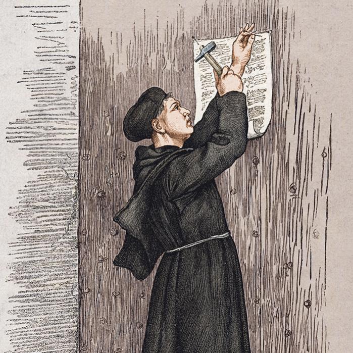 Der findes mange berømte tegninger af den tyske teolog Martin Luther, som viser episoden, hvor han i 1517 banker sine 95 teser op på kirkedøren i Wittenberg