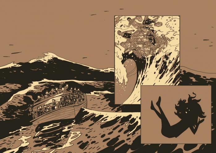 Lars Hornemans og Morten Dürrs elegiske 'Zenobia' iscenesætter ordknapt en flygtningepiges tankestrøm, mens hun synker mod havbunden et sted i Middelhavet.