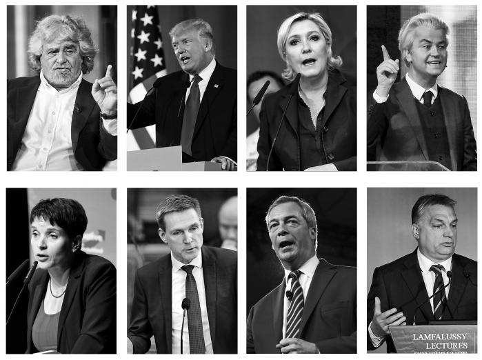 Donald Trump (USA), Kristian Thulesen Dahl (Danmark), Marine Le Pen (Frankrig), Viktor Orbán (Ungarn), Beppe Grillo (Italien), Frauke Petry (Tyskland), Nigel Farage (Storbritannien) og Geert Wilders (Holland).