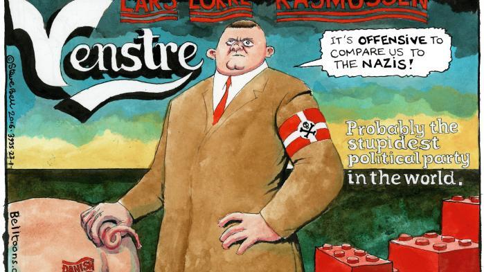 Karikaturen i The Guardian indeholder alle de billeder, vi gerne vil associeres med: bacon, legoklodser, Carlsberg. Men det brand, vi havde i verden, er nu ødelagt.
