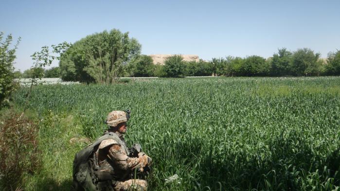 Soldaten Rasmus yder sikring under en fodpatrulje i den grønne zone et par kilometer nordøst for Gereshk i Afghanistan april 2012. Under patruljen detonerede Taleban en nedgravet sprængladning, men trak den for tidligt, og ingen kom til skade.