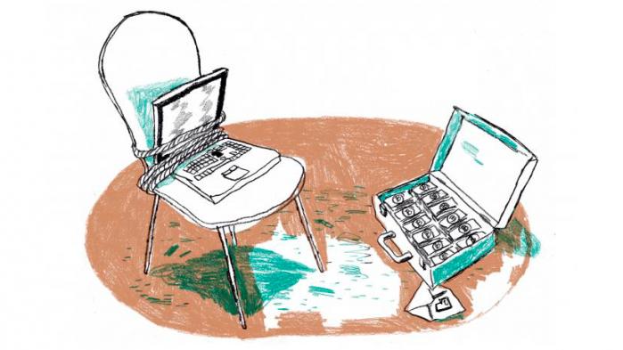 Ondsindede programmer har inficeret hundredtusindevis af computere, så ofrene skal betale for at få adgang til deres egne filer. Bagmændene bliver sjældent fanget, men nogle tilbyder deres ofre en slags kundeservice, hvor man kan få hjælp til at betale løsesummen – og prutte om prisen