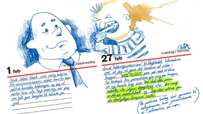 Justitsminister, Søren Pape Poulsen, er 'tough on crime'. Det gjorde han for nylig klart i et interview med Information, hvor han varslede et opgør med 70'er-mentaliteten over for hårdkogte forbrydere. I interviewet afviste han at have en plan for landets fængsler parat, men denne læk af justitsministerens kalender viser, at det er løgn. Søren Pape Poulsen har en færdigskåret drejebog og er allerede i gang med at vende danskerne mod blødsødenheden