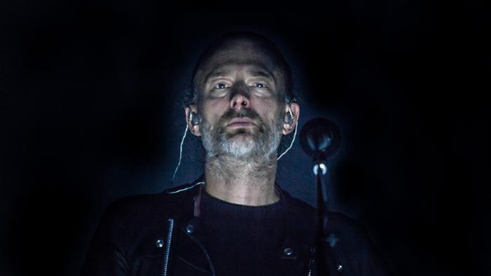 Thom Yorke i front for Radiohead ved søndagens koncert.