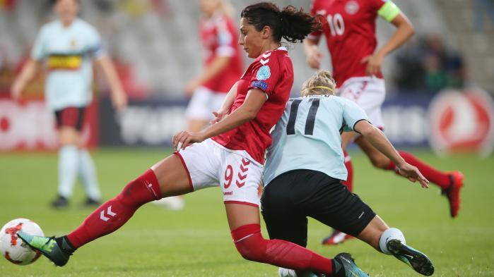 Nadia Nadim under kampen mod Belgien som endte 1-0 til Danmark.