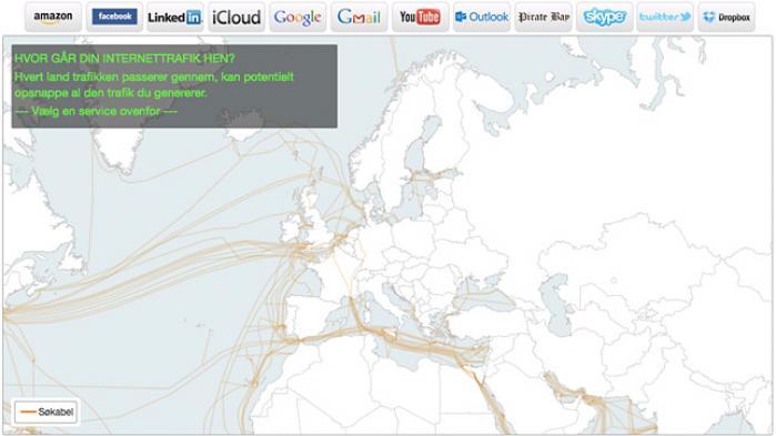 Kortet viser, hvordan dansk internettrafik vandrer gennem de søkabler, der bruges til at transportere internettrafik fra land til land. Hvert land trafikken passerer gennem, kan potentielt opsnappe al den trafik du genererer - for derefter at analysere den.