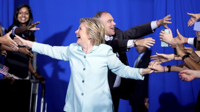 Sådan så det ud, da Hillary Clinton i weekenden introducerede sin vicepræsidentkandidat, Tim Kaine, i Florida.