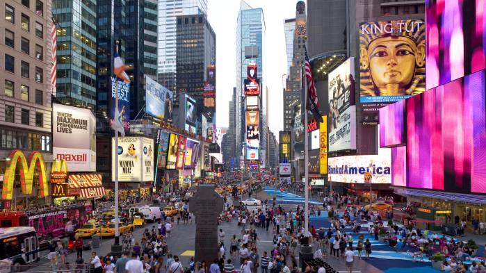 Times Square i New York er blevet kulisse for et kineskisk reklamefremstød om folkerepublikkens krav på Det Sydkinesiske Hav.
