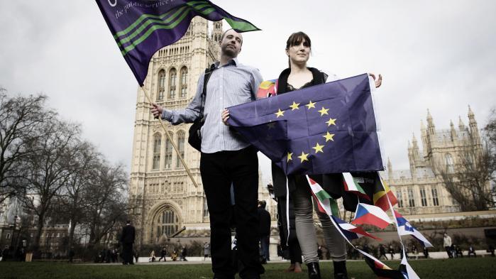 Uanset hvor længe, man har opholdt sig i Storbritannien, breder der sig i disse dage utryghed hos EU-borgere fra andre lande, der bor i landet. I går havde de valgt at protestere mod den usikkerhed. Foto: Stefan Rousseau/PA Wire