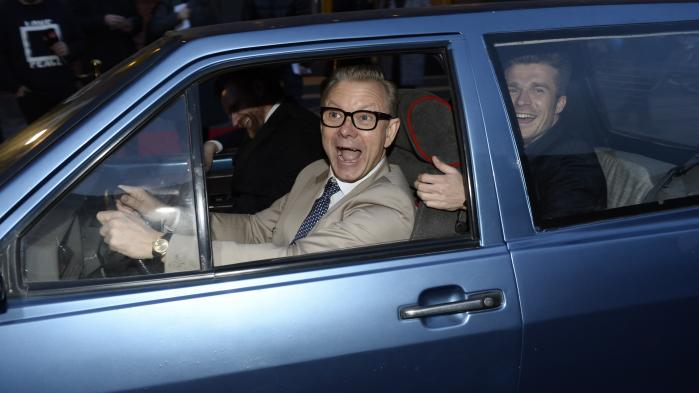Casper Christensen ankommer til gallapremiere på 'Dan Dream', der er inspireret af historien om elbilen Hope Whisper.