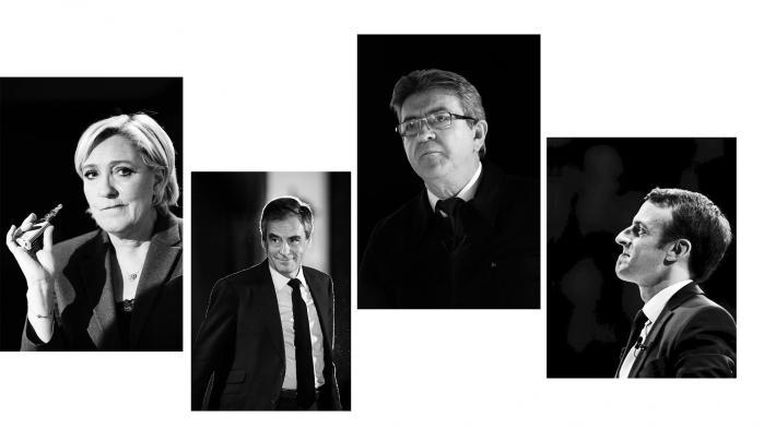 Frankrigs næste præsident skal findes blandt fire kandidater, der har fremlagt vidt forskellige programmer. Her er et overblik over de centrale politiske forskelle