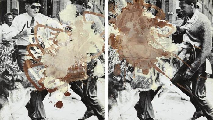 Kunstneren Kelly Walker havde til sin udstilling på Museet for Samtidskunst i St. Louis fundet arkivbilleder fra 1960'erne med gadekampe mellem politi og sorte borgerretsaktivister og overtrukket dem med chokolade. Men udstillingen blev genstand for kontroverser, da ansatte og museumsgæster følte sig krænkede af billederne