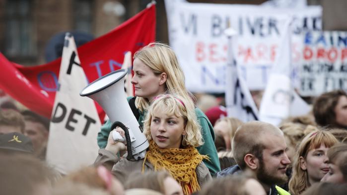 Uddannelsesalliancen protesterer mod nedskæringer på Nytorvi Københavns Indre By.