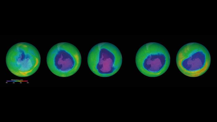 Nedbrydningen af ozonlaget over Antarktis startede i 1970'erne og tog hastigt til i 1980'erne. Siden er ozonhullet vekslet i størrelse og nu ganske langsomt i bedring. Det ventes ikke lukket før efter 2050.