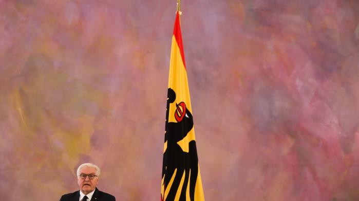 Præsident Frank-Walter Steinmeier taler til medierne efter et møde med kansler Angela Merkel.