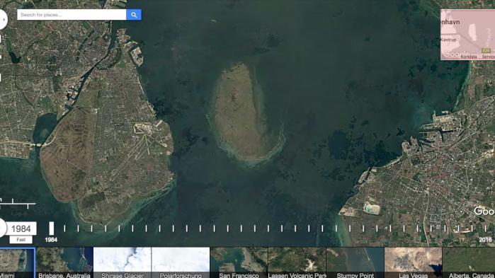 Google har kombineret mere end 5 millioner fotos fra fem forskellige satelitter gennem tre årtier for at skabe deres nye Google Earth Engine. Her kan du f.eks. lege med en såkaldt timelapse og se hovedstadens udvikling fra 1984 til 2016