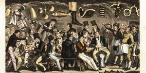 Medlemskab af en privat klub er en tradition i det britiske samfund, og sådan har det været i århundreder. Her er det et håndkoloreret kobberstik af Robert Cruikshank fra 1825, der forestiller et drikkekilde for medlemmer af en klub for eliten fra Eton.